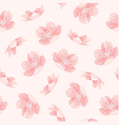 Pink cherry sakura japanese spring flowers pattern vector
