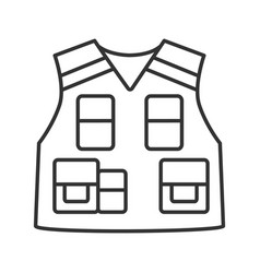 Police tactical vest linear icon vector