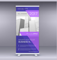 Purple standee roll up banner design template vector