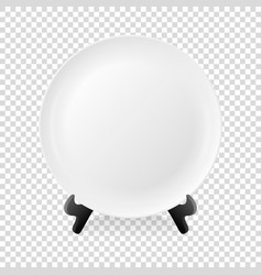 realistic white food empty plate icon on a vector image