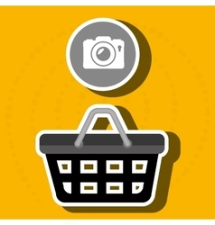 red basket and camera isolated icon design vector image