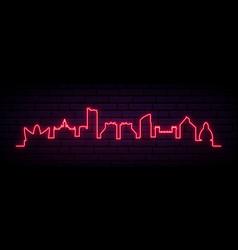red neon skyline valencia city bright valencia vector image