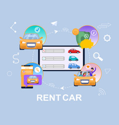 rent car concept infographic vehicle search flat vector image