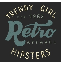 Retro trendy girl label vector