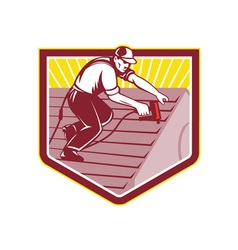 Roofer Roofing Worker Retro vector