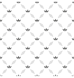 Seamless black pattern with king crowns vector image