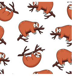 seamless pattern background lovely sloths vector image