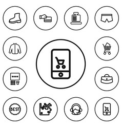 Set of 12 editable trade outline icons includes vector