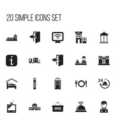 Set of 20 editable motel icons includes symbols vector