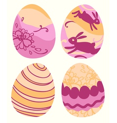 Set of 4 colored Easter eggs vector