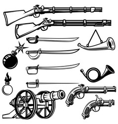set of ancient weapon muskets saber cannons bombs vector image