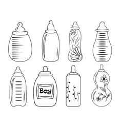 set of baby bottles in eps 10 vector image