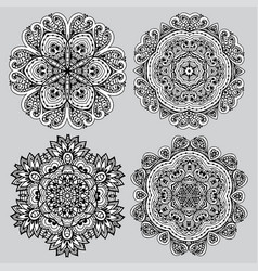 set of doodles mandalas for coloring vector image