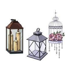 Set wedding or interior decorative elements and vector