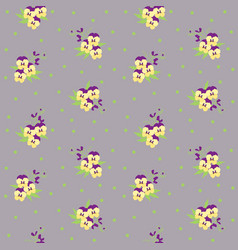 small tiny yellow and violet pansy flowers vector image