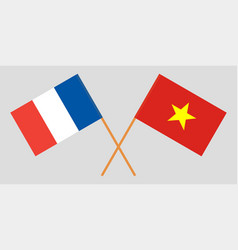 Socialist republic of vietnam and france flags vector