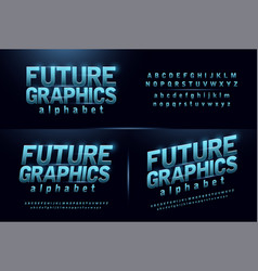 Sport future blue glow modern alphabet fonts vector