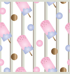 Striped seamless pattern with ice cream vector