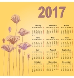Stylish calendar with flowers for 2017 Week starts vector image