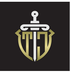 tc logo monogram with sword and shield vector image