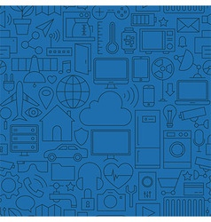 Thin Line Internet of Things Seamless Dark Blue vector image