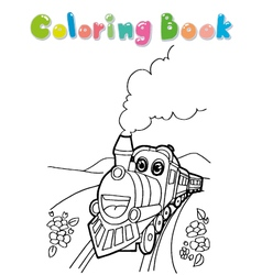 train coloring book vector image