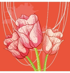 tulip background with peal beads vector image