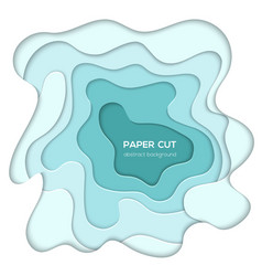 turquois abstract layout - paper cut vector image