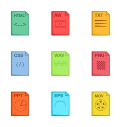 Type of file icons set cartoon style vector