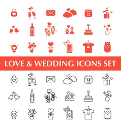 Valentines day Love and Wedding icons set vector
