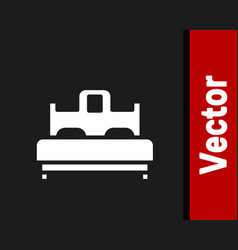White bedroom icon isolated on black background vector