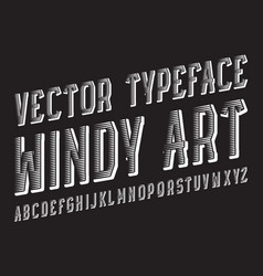 Windy art typeface white dynamic font isolated vector