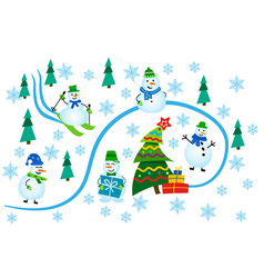 winter greeting card snowmen in winter forest vector image