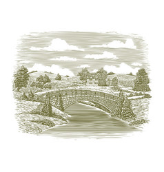 Woodcut bridge scene vector