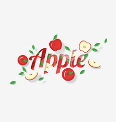 word apple design in paper art style vector image