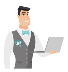 Young caucasian groom using a laptop vector