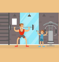 Young father and his son doing physical exercise vector