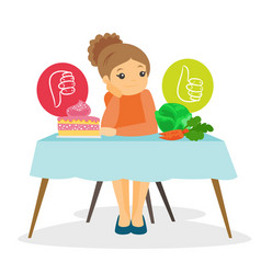 Young woman choosing between vegetables and cake vector
