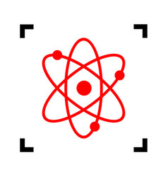 atom sign red icon inside vector image