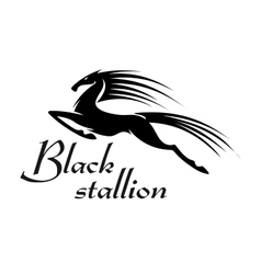 Jumping horse black silhouette for mascot design vector image vector image