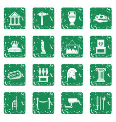 museum icons set grunge vector image