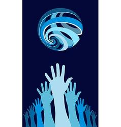 Raised hands world globe vector