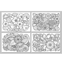 Set of floral card Hand drawn artwork with vector image vector image