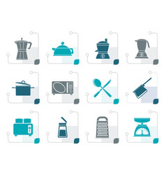 stylized kitchen and household equipment icon vector image vector image