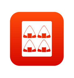 Sushi icon digital red vector