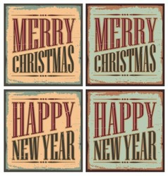 Vintage style Christmas tin signs - Christmas card vector image vector image