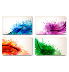 Collection of colorful abstract watercolor cards vector image
