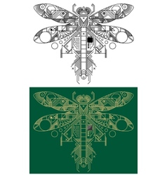 Dragonfly with computer motherboard elements vector image vector image
