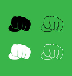 fist icon black and white color set vector image vector image