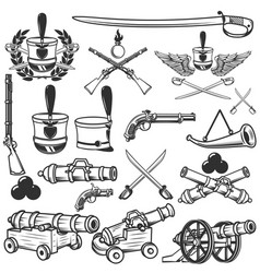 old weapons muskets sabers cannons cores hussar vector image vector image